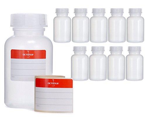 10 x 250 ml botellas de boca ancha de LDPE con cierre de rosca, botella vacía para químicos, botella de laboratorio con tapa, como recipiente de almacenamiento para laboratorio, cocina u ocio