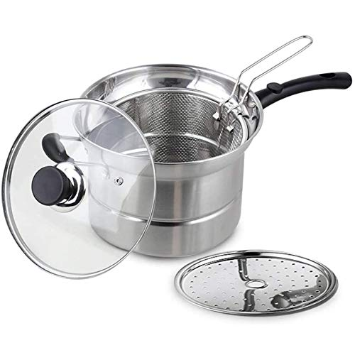 Vinbcorw Stainless Steel Pasta Pot with Strainer Insert Spaghetti Cooking Pot pasta pot with glass lid Set Induction Cooker Gas Universal,Silver