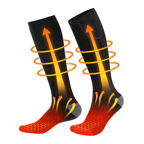 Enjoyee Heated Socks, 2020 Upgraded Rechargeable Heated Socks for Men Women with 3 Heating Levels, Electric Cotton Battery Heating Thermal Socks for Hunting Ski Camping Hiking