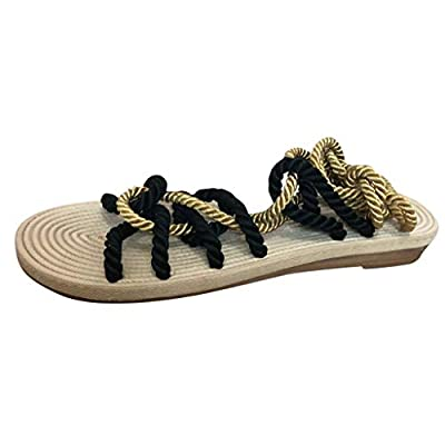 HunYUN Rome Women Summer Slippers Hemp Rope Flat Lace Beach Slippers Open Toe Sandals Suitable for All Occasions