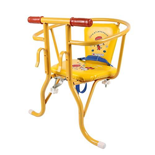 ELSP Doppio Uso Seggiolino per Bambini per Biciclette Sedile Anteriore e Posteriore della Sedia Sospesa, con Comodo Corrimano e Schienale, Adatto per 1-3 Anni, Facile da Installare, Giallo