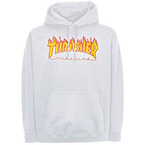 Thrasher Men's Flame Logo Long Sleeve Pullover Hoodie White S