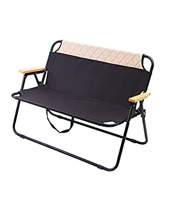 N-A Outdoor Camping Furniture Beach Patio Sports 2 Person Double Folding Lawn Chair Steel Frame Portable Double Chair, Sport Couch