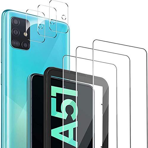 GESMA Vetro Temperato Compatibile con Samsung Galaxy A51, 3 Pezzi Vetro Temperato/Pellicola Fotocamera, Durezza 9H Senza Bolle Pellicola Protettiva Compatibile con Samsung Galaxy A51.
