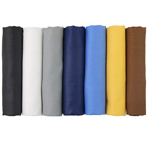 aufodara 7 Stück Stoff Einfarbige Baumwollstoff Stoffpakete Patchwork Baumwolle, 17,7 x 19,68 Inch Stoffe zum Nähen, Patchwork Stoffpaket zum Quilten DIY Basteln Handwerken (A-B801)