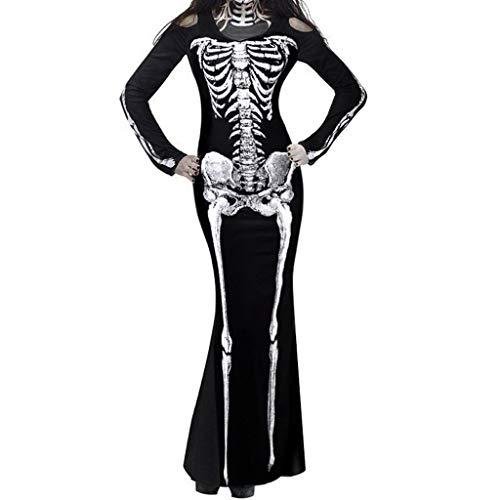 JXQ-N Halloween Maskerade Knochen Skeleton Kostüm Cosplay Skelett Geist Schulterfreies Kleidung Karneval Fasching Lang Maxikleid für Erwachsene