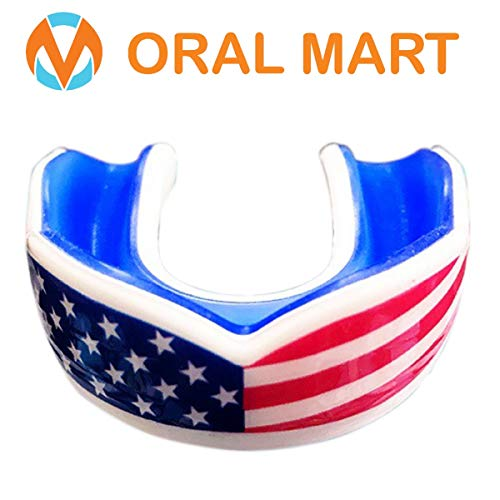 Oral Mart White/Blue Kids Mouthguard for Sports – Youth Mouthguard for Karate, Flag Football,...