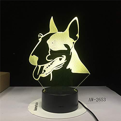 Iluminación lámpara para Perro Mascota Bull Terrier luz Nocturna decoración Creativa lámpara de Mesa caída Barco Creativo niño Regalo para bebé