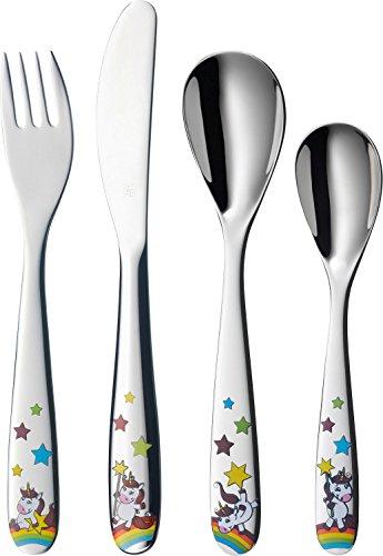 WMF Unicornio - Cubertería para niños 4 piezas (tenedor, cuchillo de mesa, cuchara y cuchara pequeña) (WMF Kids infantil)