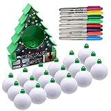 Oulian Kit Décoration Arbre de Noël DIY, Boule de Peinture électrique Arbre de Noël, Boule de Noel Boules de Décoration en Plastique pour Les Enfants de 6 Ans Jeu dactivités Artisanales, 18 Balles