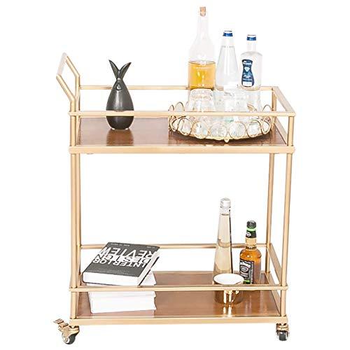 Bar Esszimmer Tee Lagerwagen, Eisen Kunst Servieren Weinwagen Utility Trolley Organizer Rack Regale Für Küche Wohnzimmer Badezimmer - Gold 2 Größen
