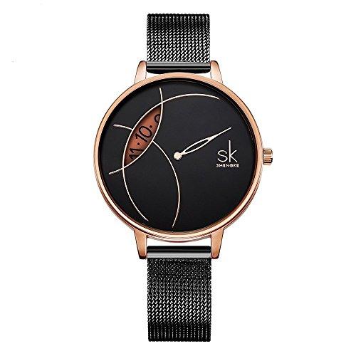 SHENGKE- Reloj de Pulsera para Mujer, Correa de Malla, Elegante, para Mujer, Estilo Simplicidad (K0091-black-mesh Band)