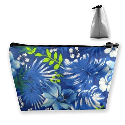 Hawaiian Royal Blue Trapezoid Travel Cosmetic Storage Pouch Pochette