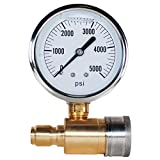 YAMATIC Pressure Washer Gauge Kit 5000 PSI with 3/8' Brass Quick Plug and 3/8' Stainless Steel Quick Socket for Pressure Washers