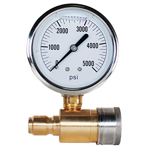 """YAMATIC Pressure Washer Gauge Kit 5000 PSI with 3/8"""" Brass Quick Plug and 3/8"""" Stainless Steel Quick Socket for Pressure Washers"""