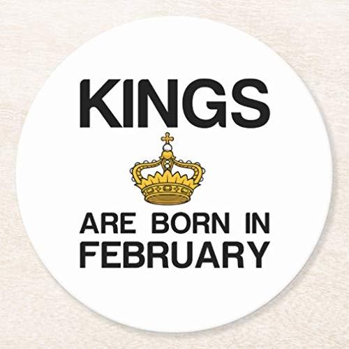 Posavasos para bebidas, base de corcho, juego de 4 posavasos redondos Kings are Born in Febrero