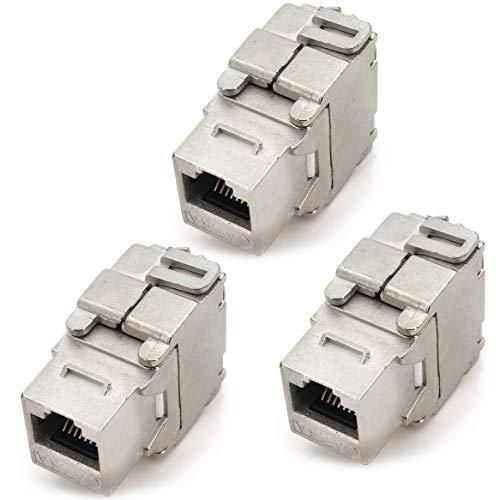 1aTTack.de Keystone Cat.6a Conector de Desplazamiento de Aislamiento sin Herramientas de 180 ° en el Enchufe RJ45 AWG 23