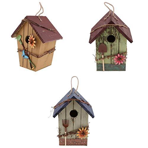 LOVIVER 3 Stücke Vintage Vogelhaus/Nistkasten/Nisthöhle für Rotschwanz, Landhaus Stil für Garten Balkon Hof