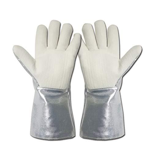 JXXDDQ Resistencia a altas temperaturas 350 ° Soldadura Chimenea Soldadores Almacenamiento Frío Cryo Guante de Trabajo Cinco Dedos Algodón Lona Aluminio Hoja 36 cm/14in