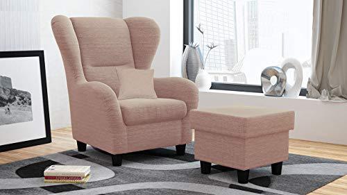 lifestyle4living Ohrensessel mit Hocker in Rosa im Landhausstil | Der perfekte Sessel für entspannte, Lange Fernseh- und Leseabende....