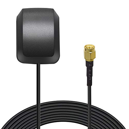 Waterproof Vehicle GPS Signal Active Antenna 28db LNA Gain, Male Plug Aerial Extension Cable for Car Stereo Head Unit GPS Navigation, 3-5VDC, SMA Interface
