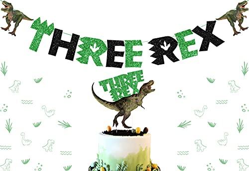 Decoración tres cumpleaños dinosaurios, tres adornos para tartas, verde negro brillante, tres banderines Rex niños, fiesta 3er cumpleaños, selva, dinosaurio, suministros fiestas temáticas