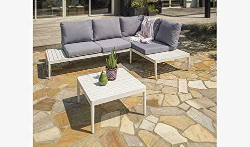 DCB GARDEN Ankara-S1 Salon de Jardin, Aluminium, Blanc, Table 60 32 cm-Méridiennesx2 : L 150 x l 72 x H 67 cm