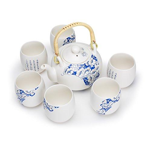 FORLONG Vintage Chinese Style Porcelain Handmade Kung Fu Tea Set with Tea PotTea Cups 7-Pack