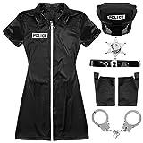 LUANAYUN-PHONE CASE Disfraz de oficial de policía para cosplay, disfraz de Halloween, uniforme de policía, guantes y puño