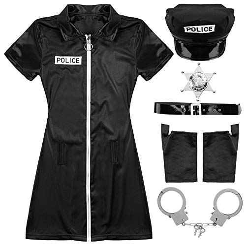 XIANYI Oficial de policía para Mujer Cosplay Disfraz de Halloween Cop Guantes y puños Uniformes (Color : Black, Size : XXL)