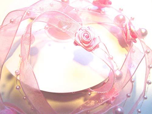 CaPiSo® 10m Trendyband Rosen Organza Trendy Schleifenband mit Rosen und Perlen Deko Hochzeit Dekoband (Helles Rosa)