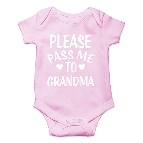 CBTwear Please Pass Me to Grandma - My Grandmother Loves Me - Cute Infant One-Piece Baby Bodysuit (Newborn, Pink)