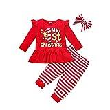 Conjuntos navideños para bebés y niñas pequeñas Elk Camiseta de manga larga Vestido superior + Pantalones a rayas + Diadema 3 piezas Conjunto de ropa de otoño invierno Rojo1 100 12-18 meses