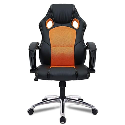 Greative Design 0653 Bureaustoel met draaistoel en poten van aluminiumlegering (zwart) voor thuis Oranje