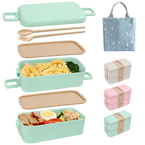 SAYOPIN Bento Box for Kids & Adults, 2-In-1 Compartment, Wheat Straw, With Spoon & Fork - Durable and Microwave-Safe Japanese Bento Lunch Box (Green)