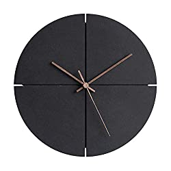 Modern Wooden Wall Clock, NEW Simplistic Design, Fashionable and Stylish, Walnut Heads, Silent Quartz Mechanism, Quality Materials made from Eco-Friendly MDF and Bamboo, Home Decor for Home/Office