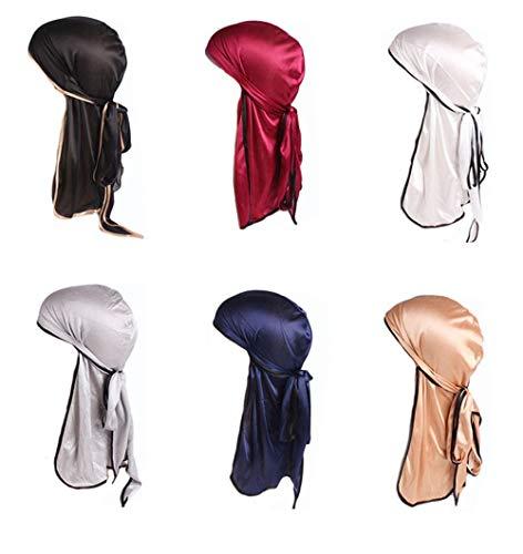 Jintong 6 Stks Mannen Vrouwen Zijdeachtige Durags Bandanas Turban hoed Pruiken Doo Satijn Durag Biker Hoofddeksels Hoofdband Haaraccessoires Extra Lange Staart Du-Rag