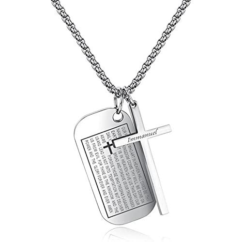 XINHE Herren Halskette Edelstahl Dog Tag personalisiert Erkennungsmarke Kreuz Gebet Anhänger Texte Gravur Modeschmuck für Männer Jungen,Silber