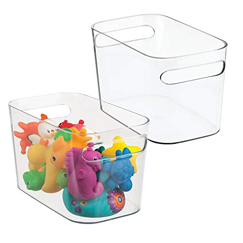 MetroDecor mDesign Toy and Game Storage Organizer Bin for Play Rooms, Bedrooms - Pack of 2, 10' x 6' x 6', Clear