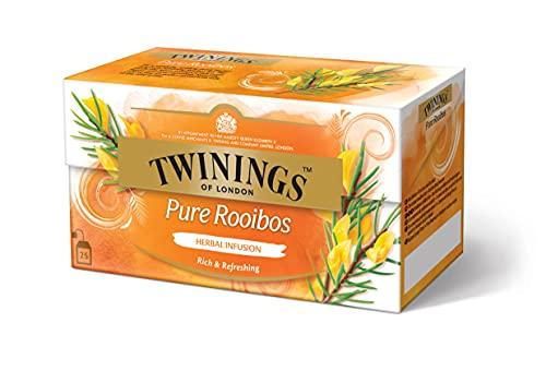 Twinings Pure Rooibos Tee - reiner Roibusch Tee im Teebeutel mit besten Roibusch-Blättern aus Südafrika - 100 Prozent natürlich und koffeinfrei, 25 Teebeutel (50 g)