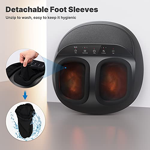 RENPHO Foot Massager Machine with Heat, Gifts for Mom, Shiatsu Deep Kneading, Multi-Level Settings, Delivers Relief for Tired Muscles and Plantar Fasciitis, Fits feet up to Men Size 12