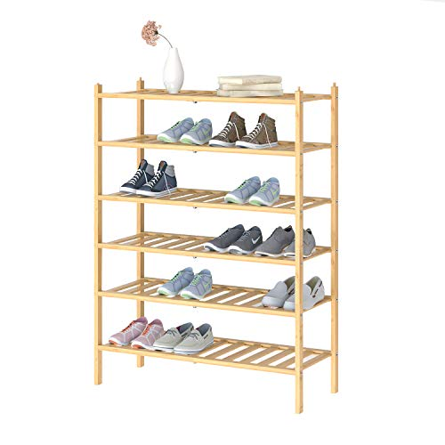 BAMFOX 6 Tier Shoe Rack,Bamboo Stackable Shoe Storage Organizer Unit Entryway Shelf in Natural Color,2 Pack 3-tier