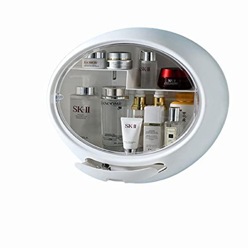 Estante de almacenamiento sin perforación para el tocador de baño a prueba de polvo montado en la pared de la caja de almacenamiento cosmética. Blanco
