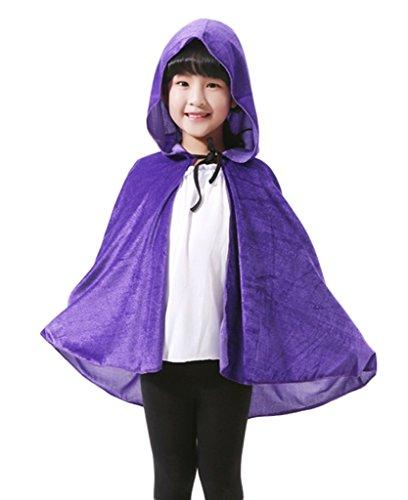 COMVIP Cape Enfant Poncho à Capuche Halloween Déguisement Accessoire Sorcier Cosplay Costume Violet