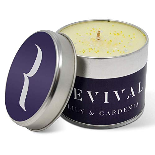 Revival Lilie und Gardenie Luxus Kerze - Wunderschön aufgegossen mit süßen und warmen natürlichen, ätherischen Ölen - 45 Stunden Brennzeit