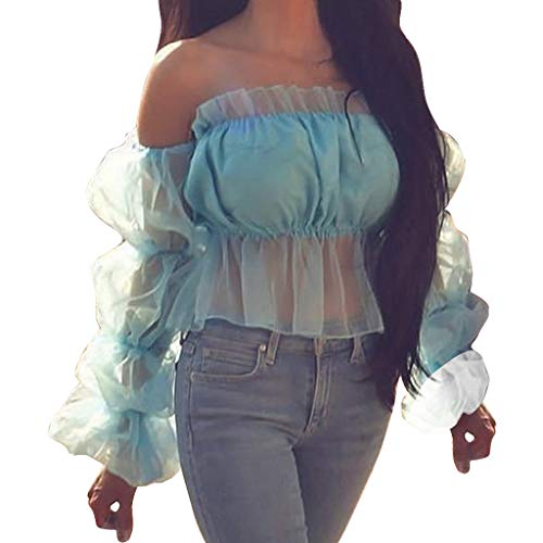 Andouy Damen Mode EIN Wort Kragen Einfarbig Bluse Lässige Mesh Puffärmel Hemd Oberteile(L(38).Blau)