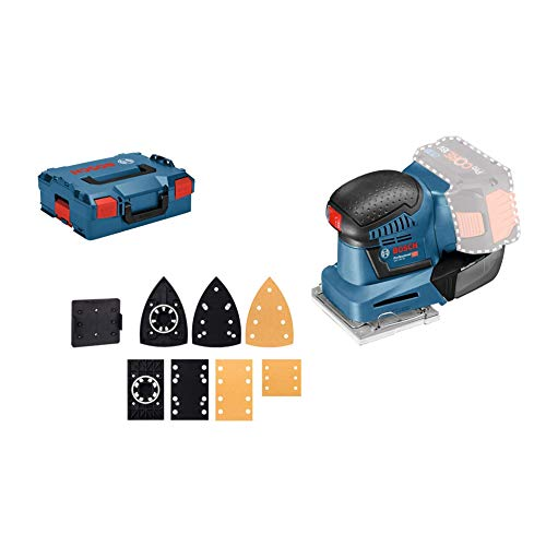 Bosch Professional GSS 18V-10 Orbital, Plato lijador 113 x 101 mm, microfiltro, sin batería, en L-BOXX, 18 V, Azul