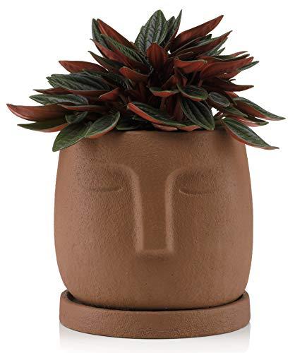 Blumentopf mit Untersetzer, Beton, Gesicht, Deko für Innen, Garten, 11cm, Braun