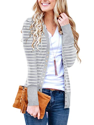 PAPOSON Women's Button Down Front Long Sleeve Striped Cardigan V-Neck Casual Sweaters Knitwear (Light Gray Stripe,XL)