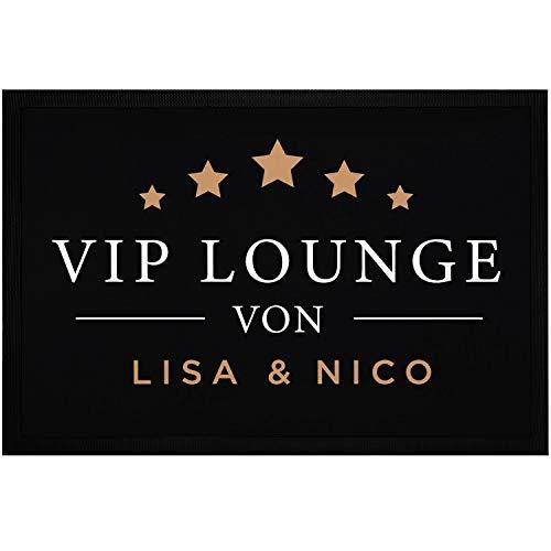 SpecialMe® Fußmatte mit Namen VIP Lounge personalisiebar mit Wunschnamen rutschfest & waschbar weiß 60x40cm